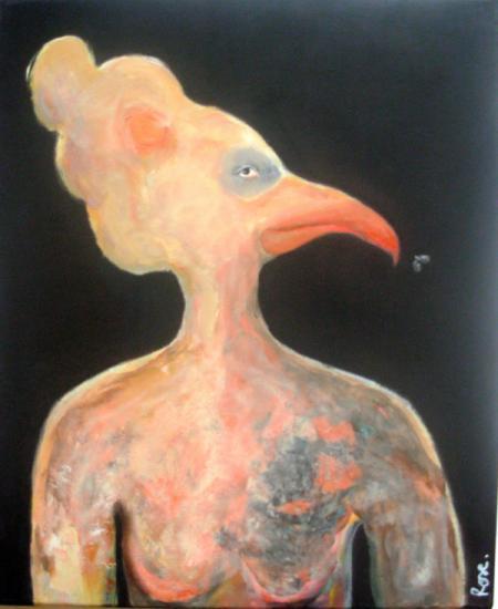 oiseau dame à la mouche4 - acrylique 37,5/46